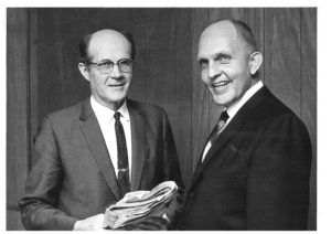 Robert Steinke (right) with predecessor Rollin Everett in 1968.